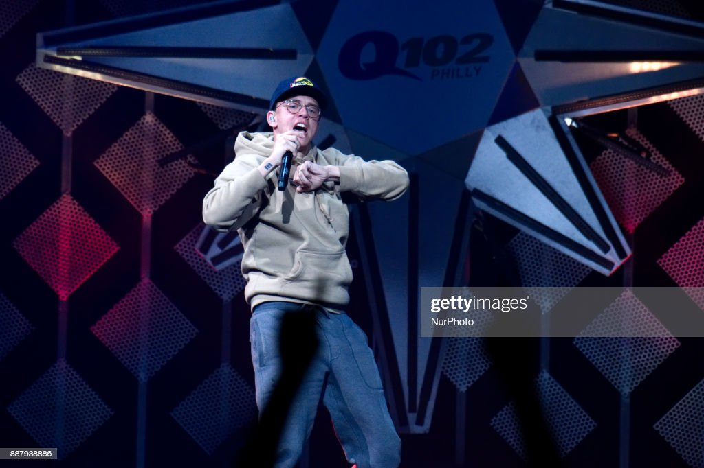 Logic performs onstage during the Q102's iHeartRadio Jingle Ball 2017 at the Wells Fargo Center in Philadelphia, PA, on December 6, 2017.