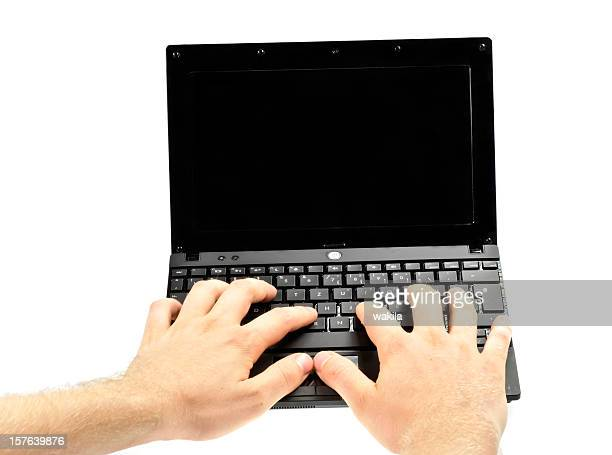 login hands on small laptop