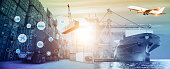 Logistics and transportation concept, Container Cargo ship and Cargo plane with working crane bridge in shipyard at sunrise, logistic import export and transport industry background