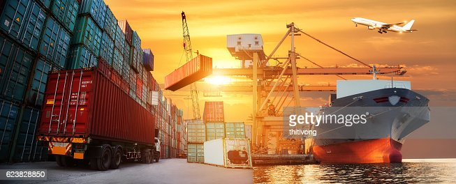 Logistics and transportation of Container Cargo ship and Cargo plane : Stock Photo