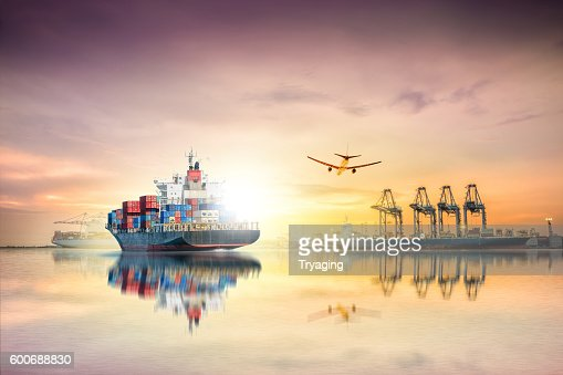 Logistics and transportation of Container Cargo ship : Stock Photo