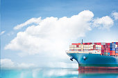 Logistics and transportation of International Container Cargo ship in the ocean, Nautical Vessel