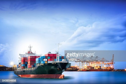 Logistics and transportation of International Container Cargo ship : Stock Photo