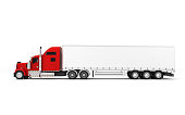 Logistics concept. American red Freightliner cargo truck with container moving from right to left isolated on white background. Left side view. 3D illustration