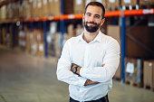 Logistics manager warehouse portrait