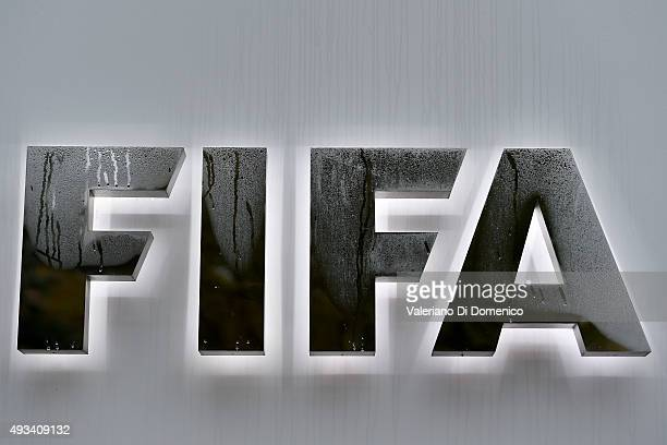 Logo at the entrance of the world football's governing body headquarters in Zurich on October 20 2015 in Zurich Switzerland