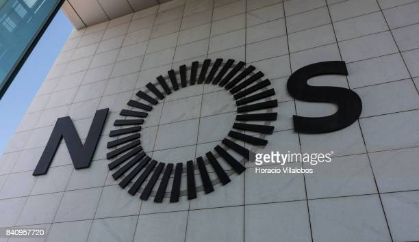 Logo at the headquarters of Portuguese 'NOS Comunicacoes' a GSM/UMTS/LTE mobile operator on August 30 2017 in Lisbon Portugal Isabel dos Santos...