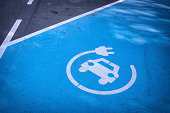 A dslr photo taken at a parking lot. A white logo 'charge your electric your car here' is painted on a blue painted parking spot reserved for charging an electric car.