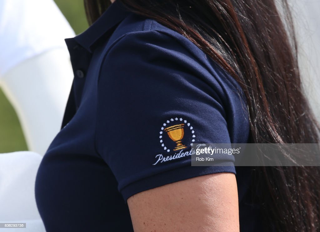 Logo design at LACOSTE 'Official Apparel Provider' unveiling during 2017 Presidents Cup Media Day at Liberty National Golf Club on August 21, 2017 in Jersey City, NJ.