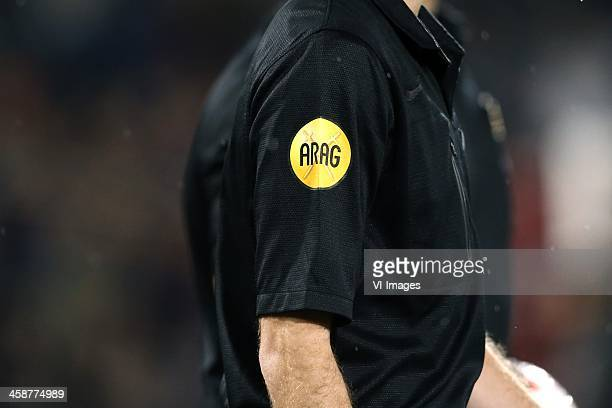 ARAG logo during the Dutch Eredivisie match between Feyenoord and PEC Zwolle on December 21 2013 at the Kuip stadium in Rotterdam The Netherlands