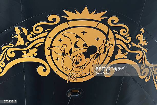 A logo featuring Mickey Mouse is seen on the 'Disney Fantasy' cruise ship at the Meyer Werft shipyards before the ship's departure on January 20 2012...