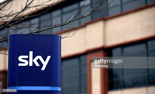 A logo for British Sky Broadcasting Group Plc sits outside the company's headquarters in Isleworth UK on Monday Jan 30 2012 British Broadcasting Corp...