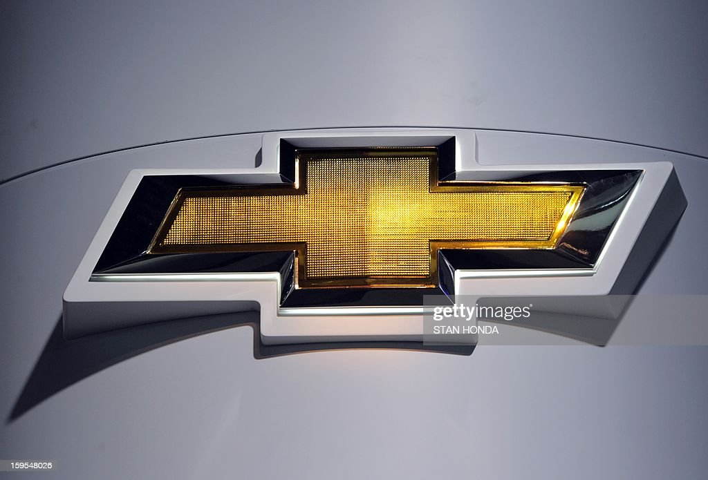 Logo for Chevrolet at the 2013 North American International Auto Show in Detroit, Michigan, January 15, 2013. AFP PHOTO/Stan HONDA