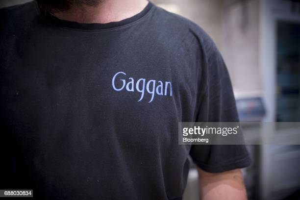 A logo for Gaggan is seen on a chef's tshirt in the kitchen of Gaggan restaurant in Bangkok Thailand on Friday May 5 2017 After his restaurant's...