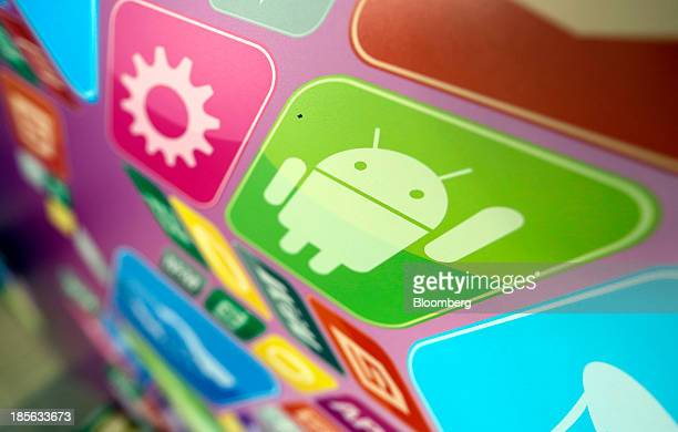 A logo for Google Inc's Android operating system is displayed on an advertising sign during the Apps World MultiPlatform Developer Show in London UK...