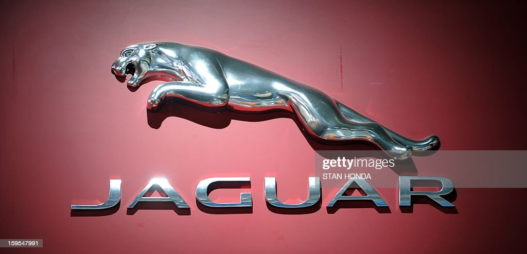 Logo for Jaguar at the 2013 North American International Auto Show in Detroit, Michigan, January 15, 2013. AFP PHOTO/Stan HONDA