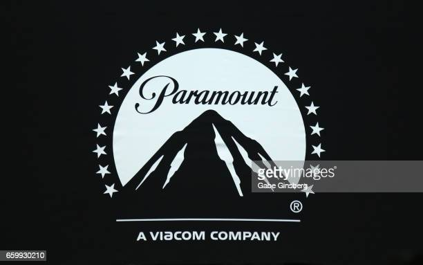 A logo for Paramount Pictures is displayed at Paramount Pictures' presentation highlighting its 2017 summer and beyond during CinemaCon at The...
