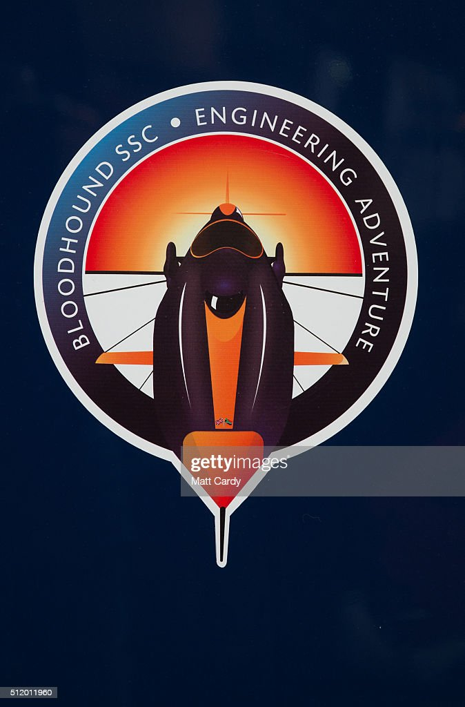 A logo for the Bloodhound SSC vehicle inside the design centre in Avonmouth on February 24 2016 in Bristol England It is hoped that when finally...