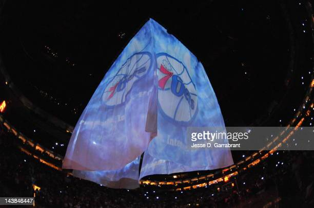 Logo for the Philadelphia 76ers is displayed prior to the start against the Chicago Bulls in Game Three of the Eastern Conference Quarterfinals...