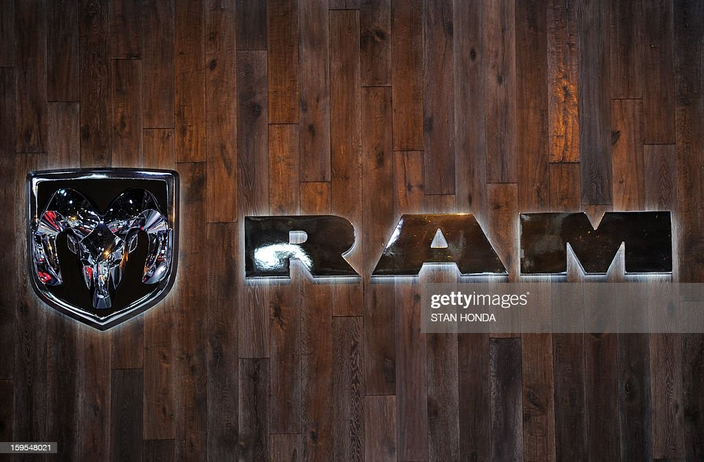 Logo for the Ram truck division of Chrysler at the 2013 North American International Auto Show in Detroit, Michigan, January 15, 2013. AFP PHOTO/Stan HONDA