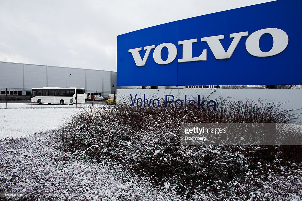 A logo for Volvo AB stands outside company's bus manufacturing plant in Wroclaw, Poland, on Friday, Jan. 11, 2013. Volvo plans to end bus making in Saeffle by June 2013, and will consolidate the business in Europe to its main plant in Wroclaw, Poland, the Gothenburg, Sweden-based company said. Photographer: Bartek Sadowski/Bloomberg via Getty Images