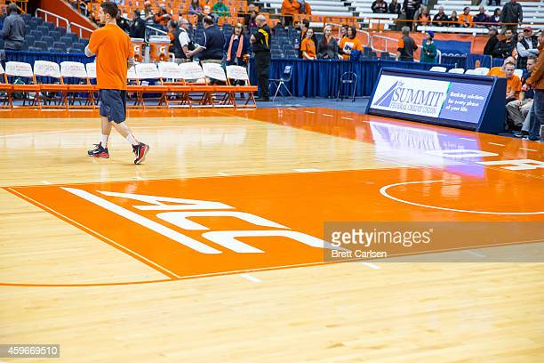 ACC logo in the paint of Jim Boeheim Court before the game between the Syracuse Orange and the Loyola Greyhounds on November 25 2014 at The Carrier...