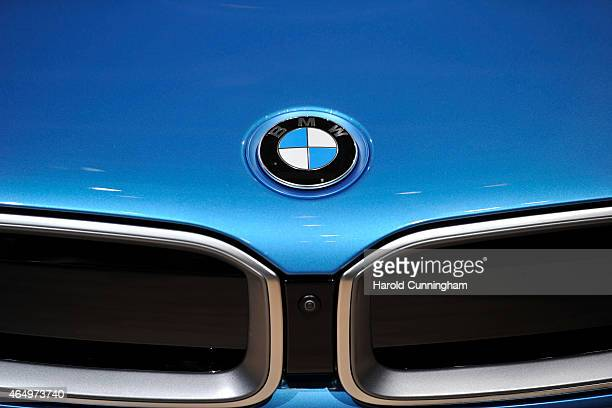 BMW logo is displayed at the Geneva International Motor Show on March 2 2015 in Geneva Switzerland The 85th International Motor Show held from the...
