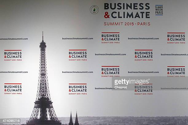 A logo is displayed during the 'Business Climate Summit 2015' at the UNESCO headquarters on May 20 2015 in Paris France 200 days before the UN...