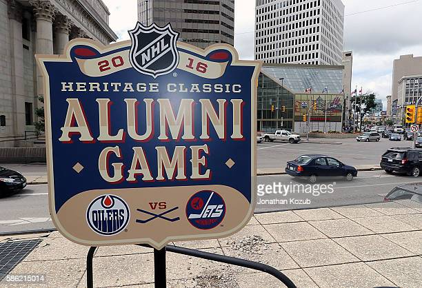 A logo is displayed for the 2016 Heritage Alumni Game between the Winnipeg Jets and the Edmonton Oilers at the press conference held at the Outdoor...