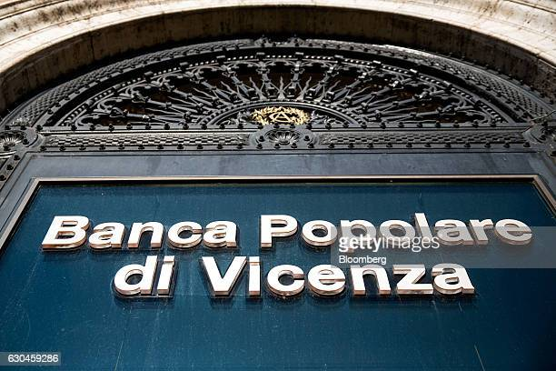 A logo is displayed on a Banca Popolare di Vicenza SpA bank branch in Rome Italy on Friday Dec 23 2016 The nationalization of Banca Monte dei Paschi...