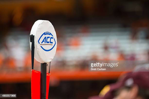 ACC logo is displayed on a line of scrimmage marker during the game between the Syracuse Orange and the Central Michigan Chippewas on September 19...