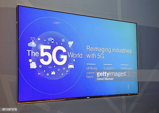 A 5G logo is displayed on a monitor at the Intel booth at CES 2017 at the Las Vegas Convention Center on January 6 2017 in Las Vegas Nevada CES the...