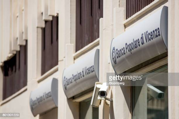 A logo is displayed on the wall of a Banca Popolare di Vicenza SpA bank branch in Rome Italy on Monday June 26 2017 Italy orchestrated its biggest...