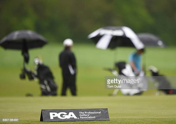 PGA logo is pictured during the PGA Assistants South Qualifier at Farleigh Golf Club on May 10 2016 in Selsdon England