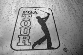 A PGA TOUR logo is seen after play was suspended due to severe storms during the third round of THE PLAYERS Championship held at THE PLAYERS Stadium...