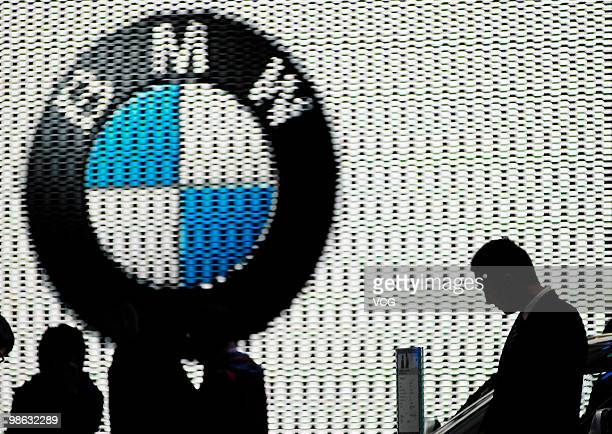 A BMW logo is seen at the Beijing Auto Show on April 23 2010 in Beijing China The Auto China 2010 which has become one of the largest automobile...