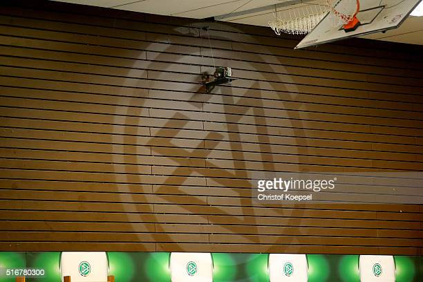 DFB logo is seen during the DFB B and C Junior Indoor Cup at Sporthalle West on March 20 2016 in Gevelsberg Germany