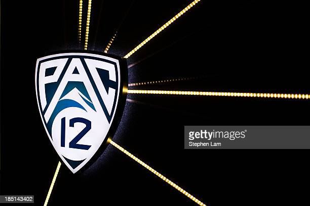 PAC12 logo is seen during the PAC12 Men's Basketball Media Day on October 17 2013 in San Francisco California