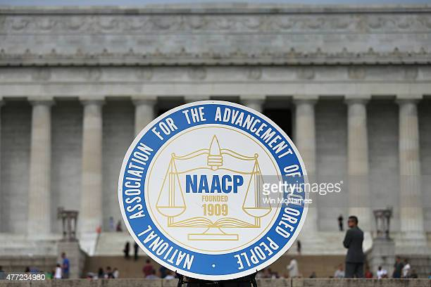 A logo is seen for the National Association for the Advancement of Colored People as NAACP President and CEO Cornell William Brooks speaks during a...