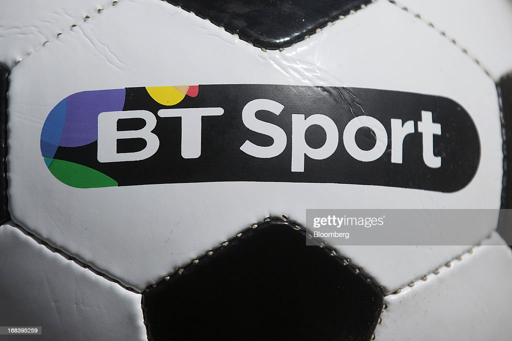 A logo is seen on a branded soccer ball during the launch of BT Group Plc's new sports television channel BT Sport, at the company's offices located within the former London 2012 Olympic Broadcast Center in London, U.K., on Thursday, May 9, 2013. British Sky Broadcasting Group Plc, the U.K.'s largest pay-TV broadcaster, fell the most in almost a year after BT Group Plc unveiled sports channels to compete with the Rupert Murdoch-controlled satellite operator. Photographer: Simon Dawson/Bloomberg via Getty Images