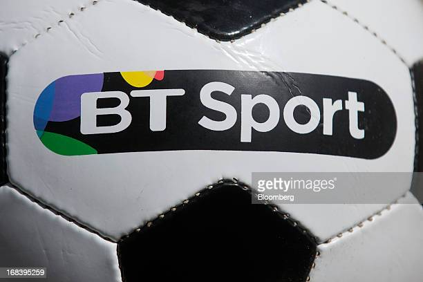 A logo is seen on a branded soccer ball during the launch of BT Group Plc's new sports television channel BT Sport at the company's offices located...