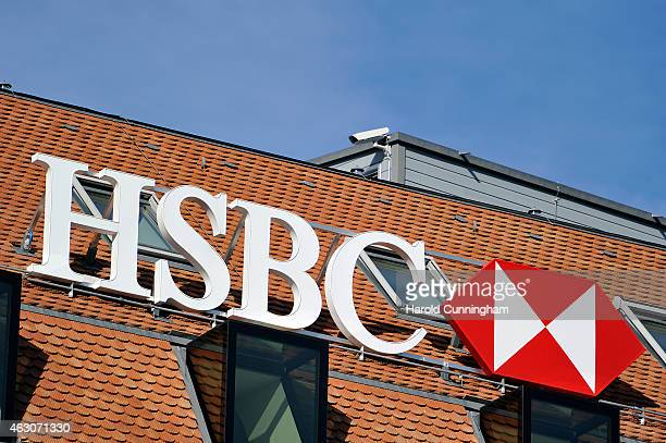 HSBC logo is seen on HSBC offices on February 9 2015 in Geneva Switzerland It has been discovered that the HSBC bank has helped wealthy clients to...