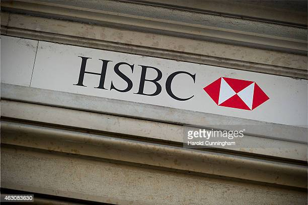 HSBC logo is seen on HSBC offices on February 9 2015 in Geneva Switzerland