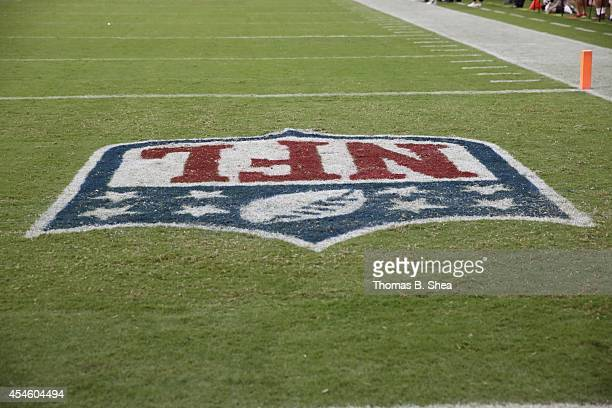 NFL logo is seen on the field in a preseason NFL game of the Houston Texans against the San Francisco 49ers on August 28 2014 at NRG Stadium in...