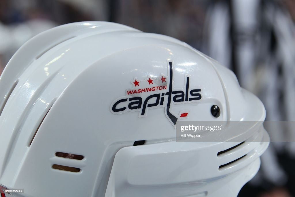 A logo is seen on the helmet of a Washington Capitals' player in a game against the Buffalo Sabres on March 30, 2013 at the First Niagara Center in Buffalo, New York.