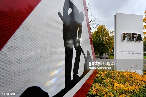 FIFA logo next to a construction sign at the entrance of the FIFA headquarters on October 9 2015 in Zurich Switzerland On Thursday FIFA's Ethics...