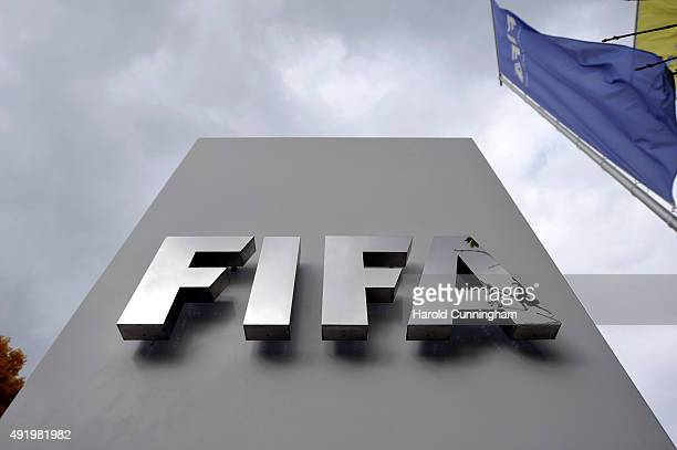 FIFA logo next to the entrance at the FIFA headquarters on October 9 2015 in Zurich Switzerland On Thursday FIFA's Ethics Committee provisionally...