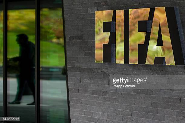 FIFA logo next to the entrance during part I of the FIFA Council Meeting 2016 at the FIFA headquarters on October 13 2016 in Zurich Switzerland