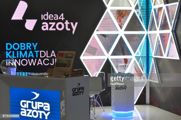 Logo of Azoty Group the largest chemical holding company in Poland seen at Congress 590 in the new Exhibition and Congress Centre in RzeszowJasionka...
