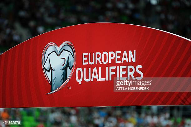 A logo of European qualifiers is seen prior to the UEFA Euro 2016 Group F qualifying match Hungary vs Northern Ireland on September 7 2014 in...